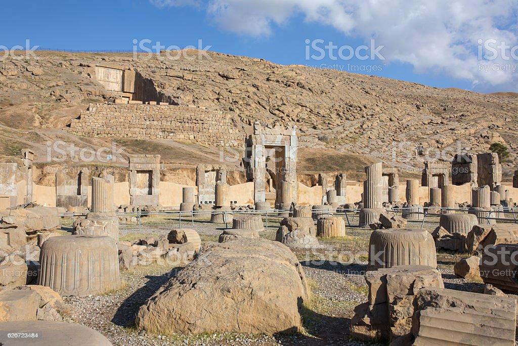 Ancient columns in Persepolis city, Iran stock photo
