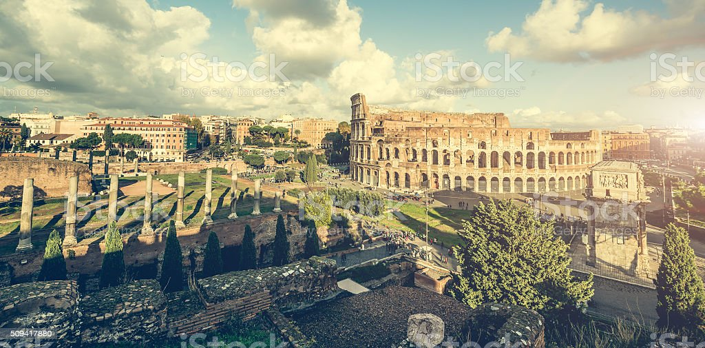 Ancient columns near the Coliseum stock photo