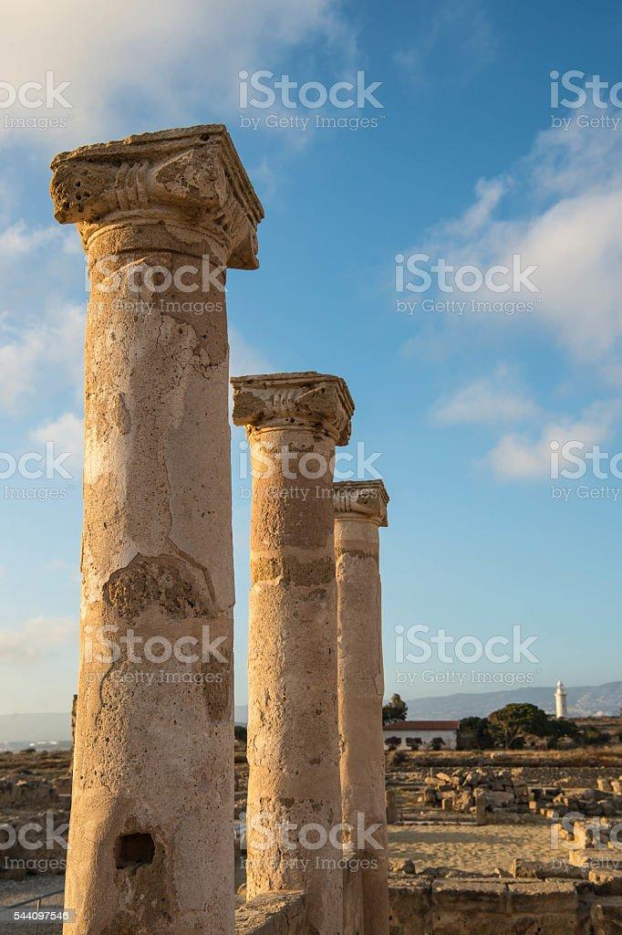 Ancient columns. Paphos, Cyprus. Kato Paphos Archaeological Park stock photo