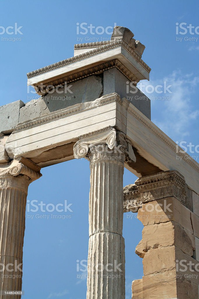 Ancient colums at the Acropolis royalty-free stock photo
