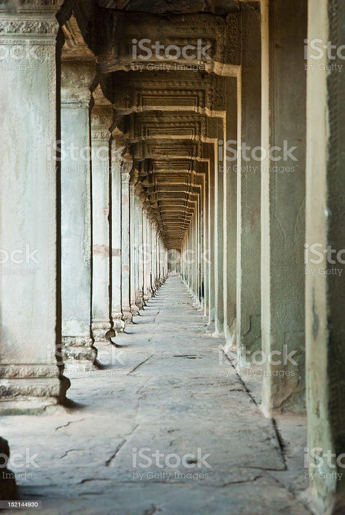 Ancient corridoor Angkor Wat Cambodia royalty-free stock photo