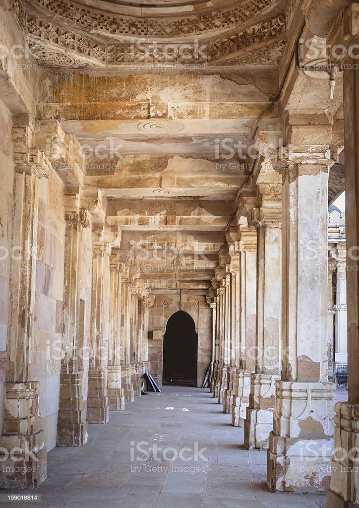 Ancient Corridor leading to prayer hall royalty-free stock photo