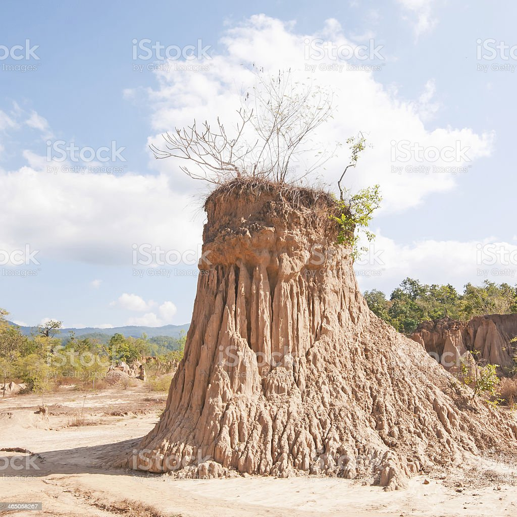 Ancient corrosion of soil by rain and wind royalty-free stock photo