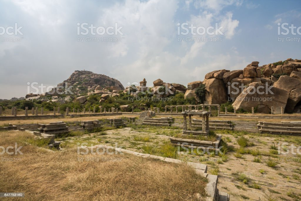 Ancient Courtesans Street and dried out pool, and a Mantap (Pavilio). Matanga hills inthe backgound. stock photo