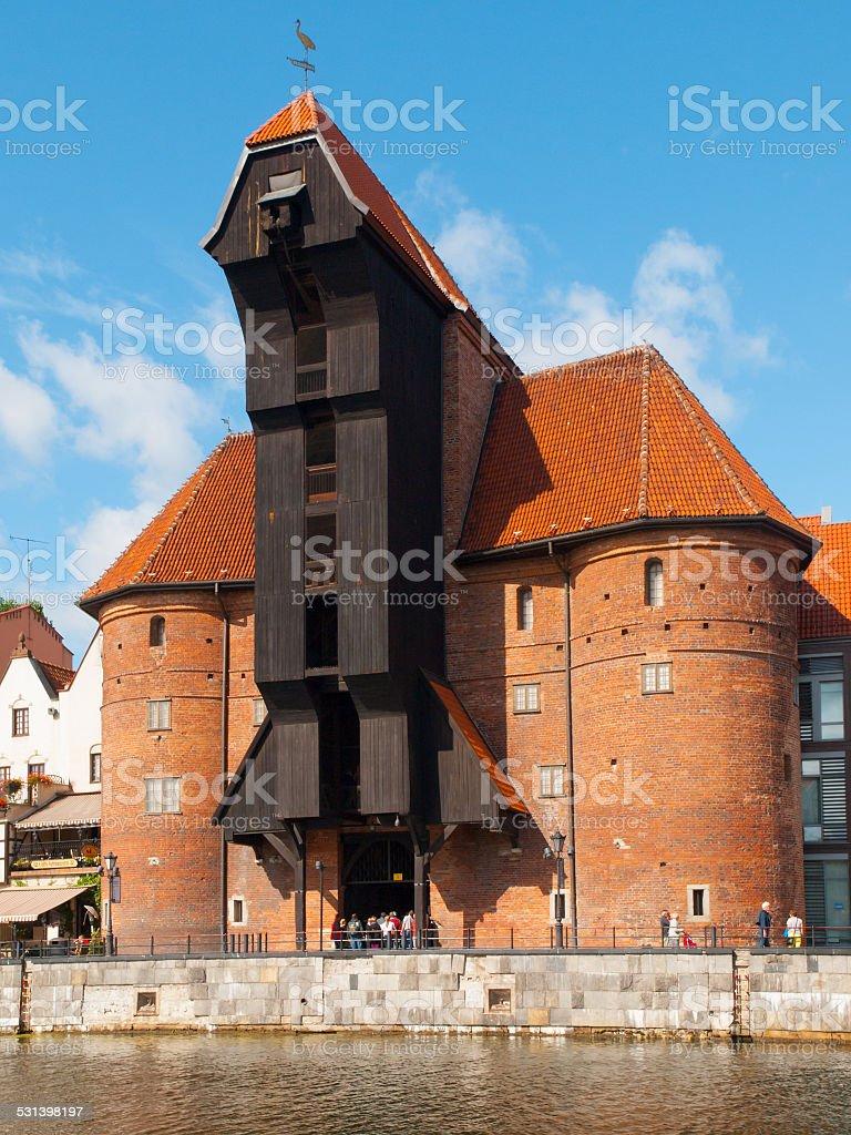 Ancient crane in Gdansk stock photo