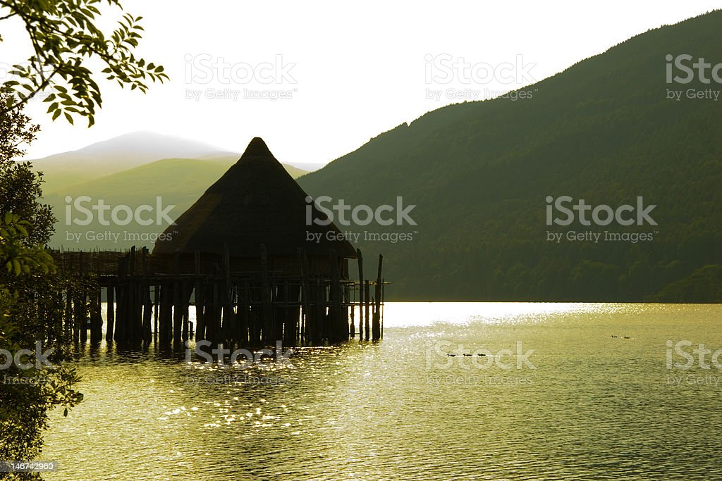Ancient Crannog House, Loch Tay, Kenmore, Scotland royalty-free stock photo