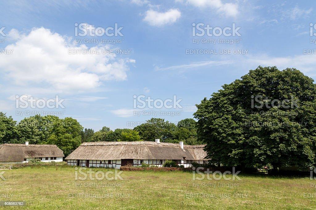 Ancient danish half-timbered farmhouses stock photo