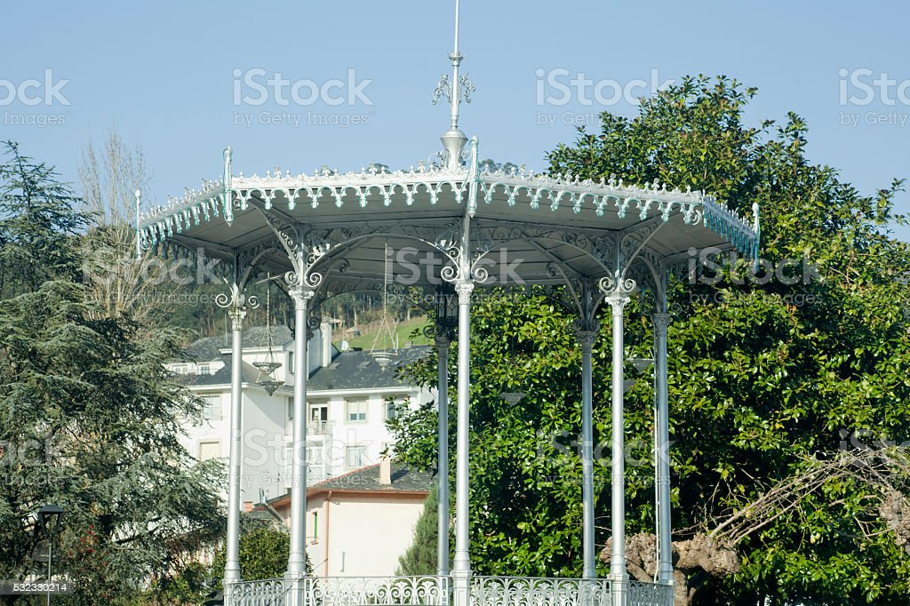 Ancient decorated garden bandstand, Vegadeo, Asturias, Spain. stock photo