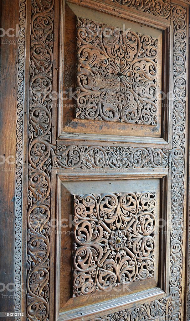 ancient door design stock photo