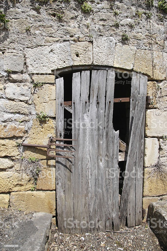 Ancient door in a old shed stock photo