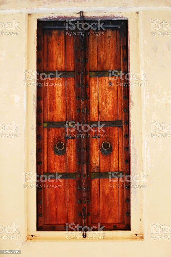 Ancient door in Jaipur (Jantar Mantar) stock photo