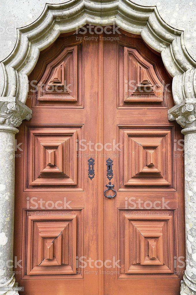 Ancient door in Palacio da Pena, Sintra, Portugal. royalty-free stock photo