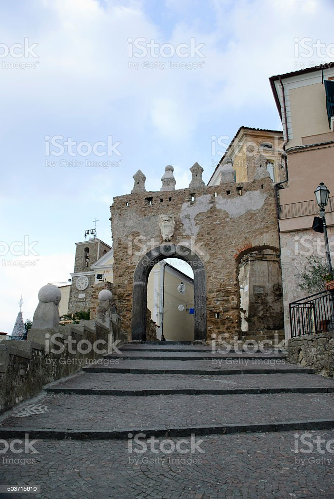 Ancient door village of Agropoli stock photo