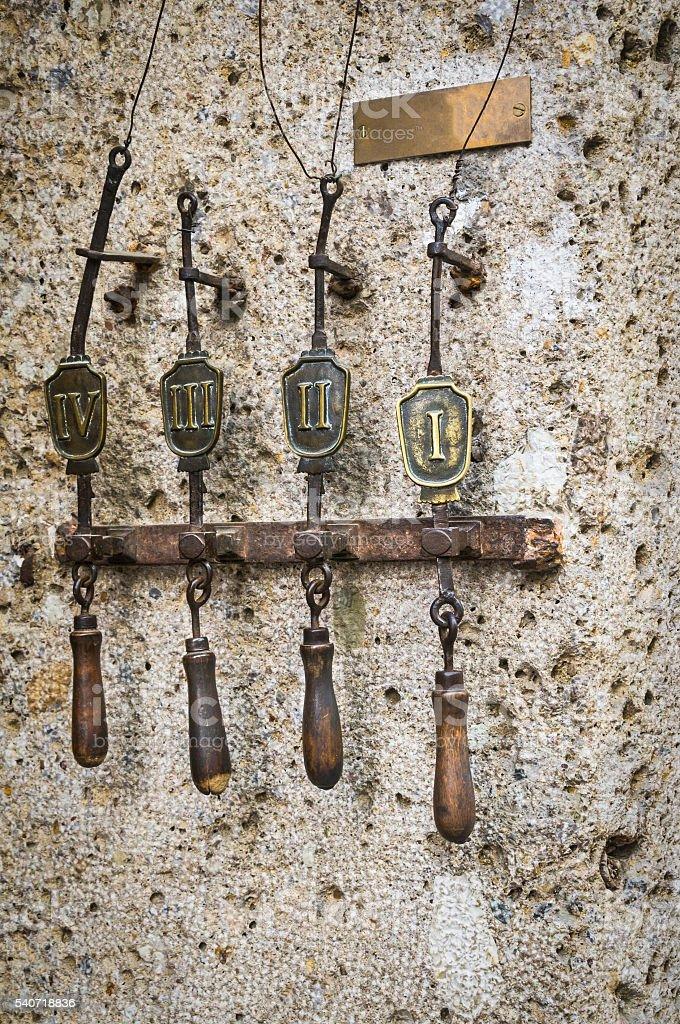Ancient Doorbells stock photo