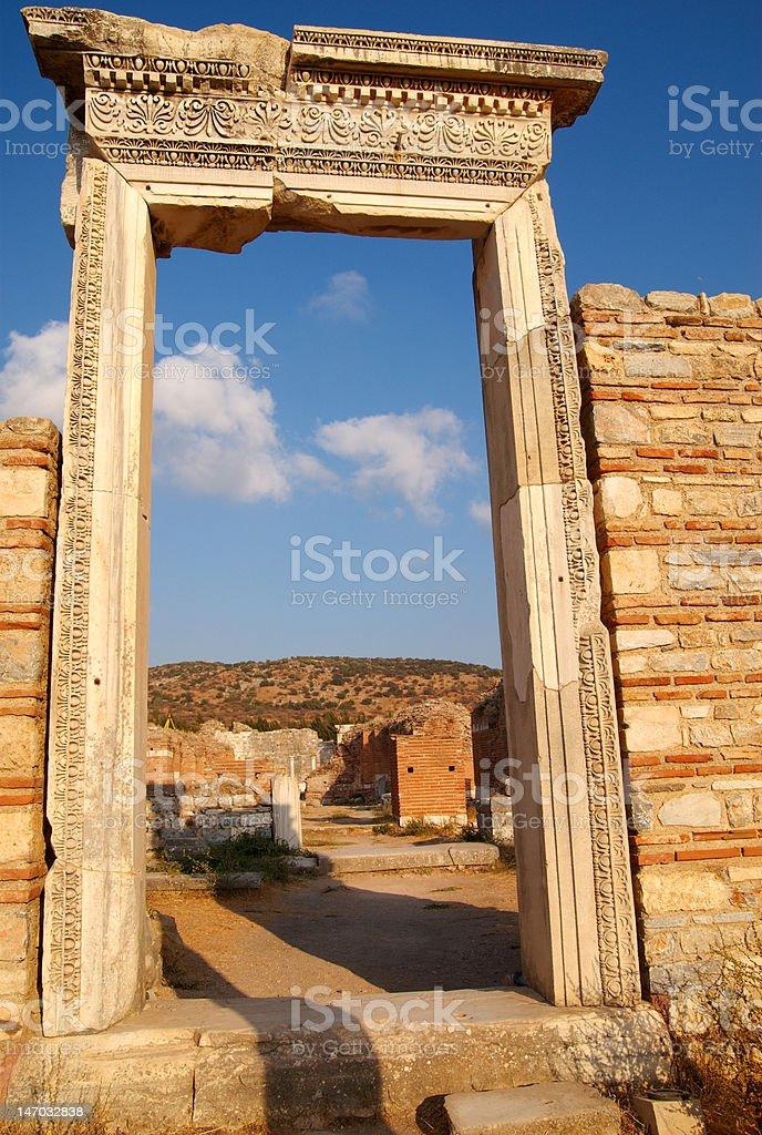 Ancient Doorway, Ephesus stock photo