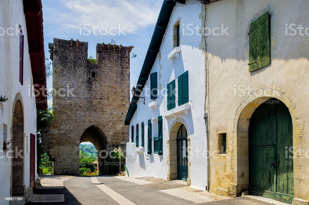 Ancient doorway in the French commune of Hastingues stock photo