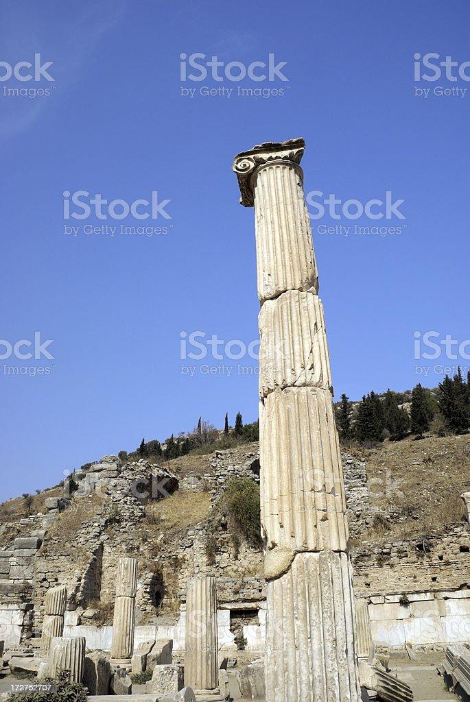 Ancient Doric Column Ephesus Turkey royalty-free stock photo