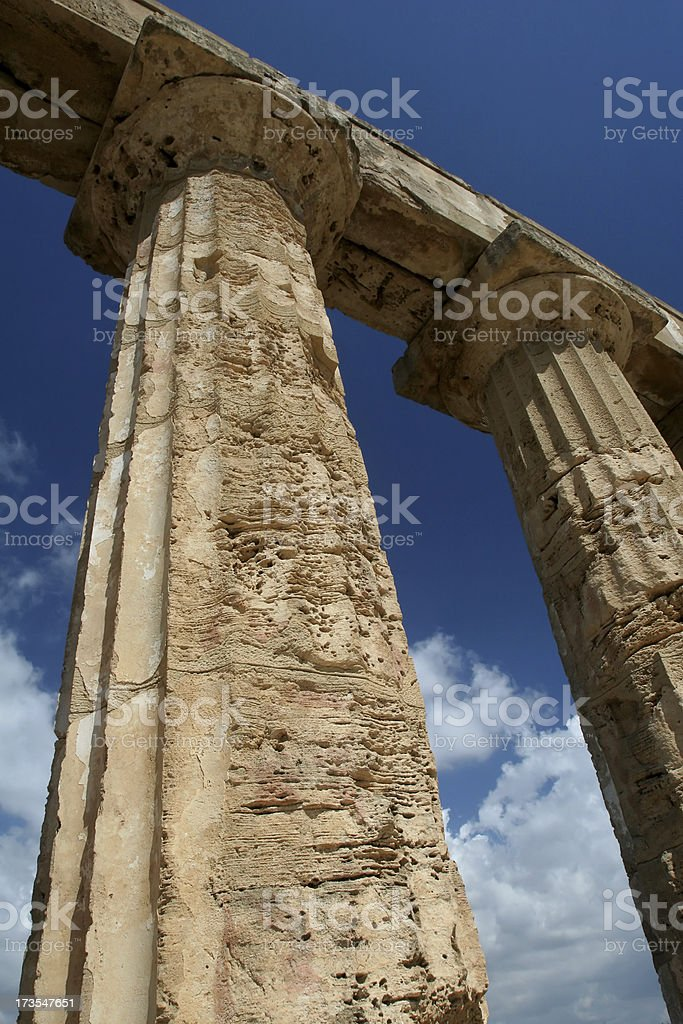 Ancient Doric Columns in Sicily royalty-free stock photo