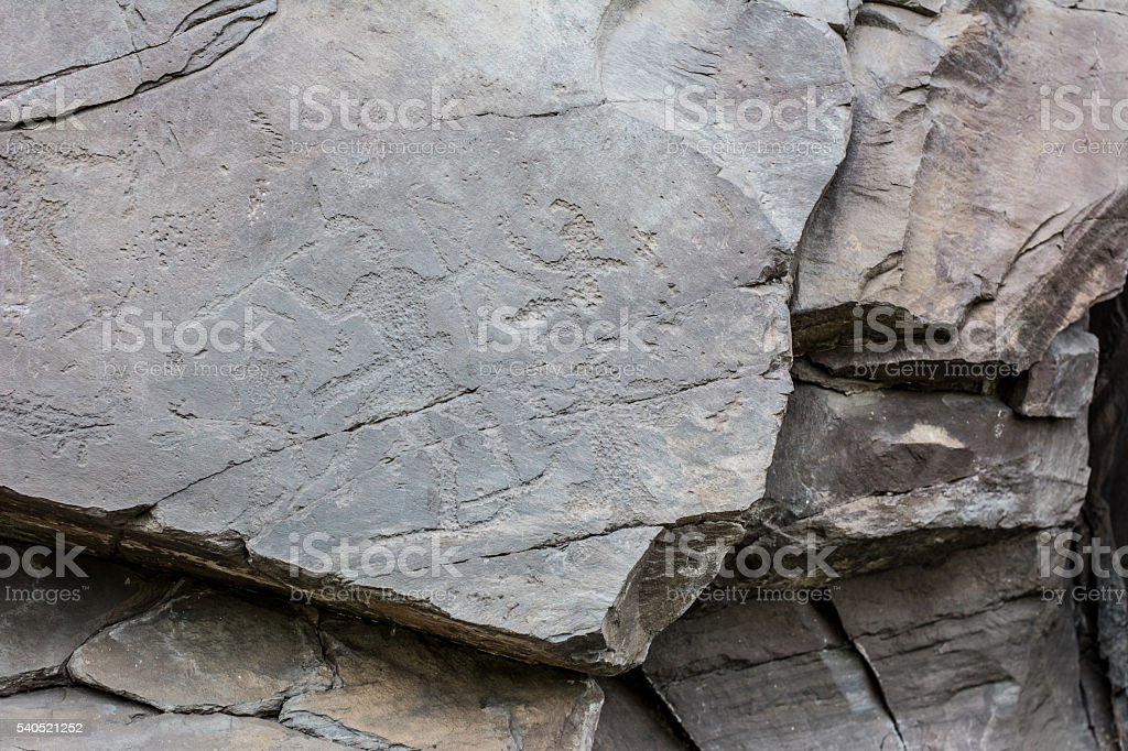 Ancient draws signs made by people fourteen hundred years ag stock photo