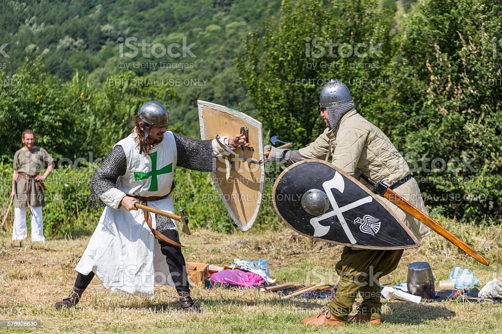 Ancient duel demonstration stock photo