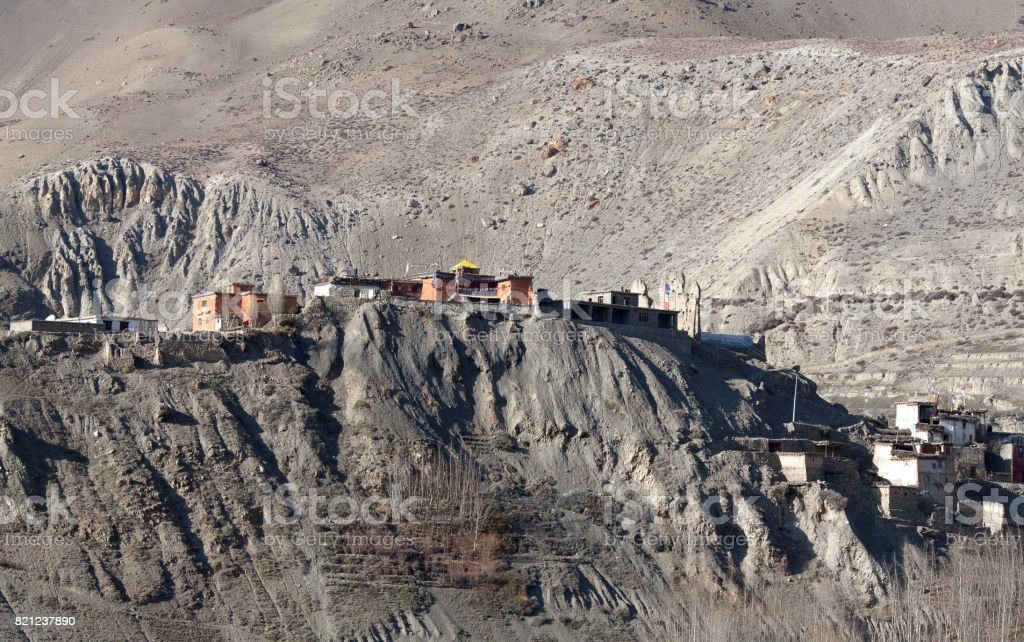 Ancient Dzong monastery in Muktinath valley, Nepal Himalaya stock photo