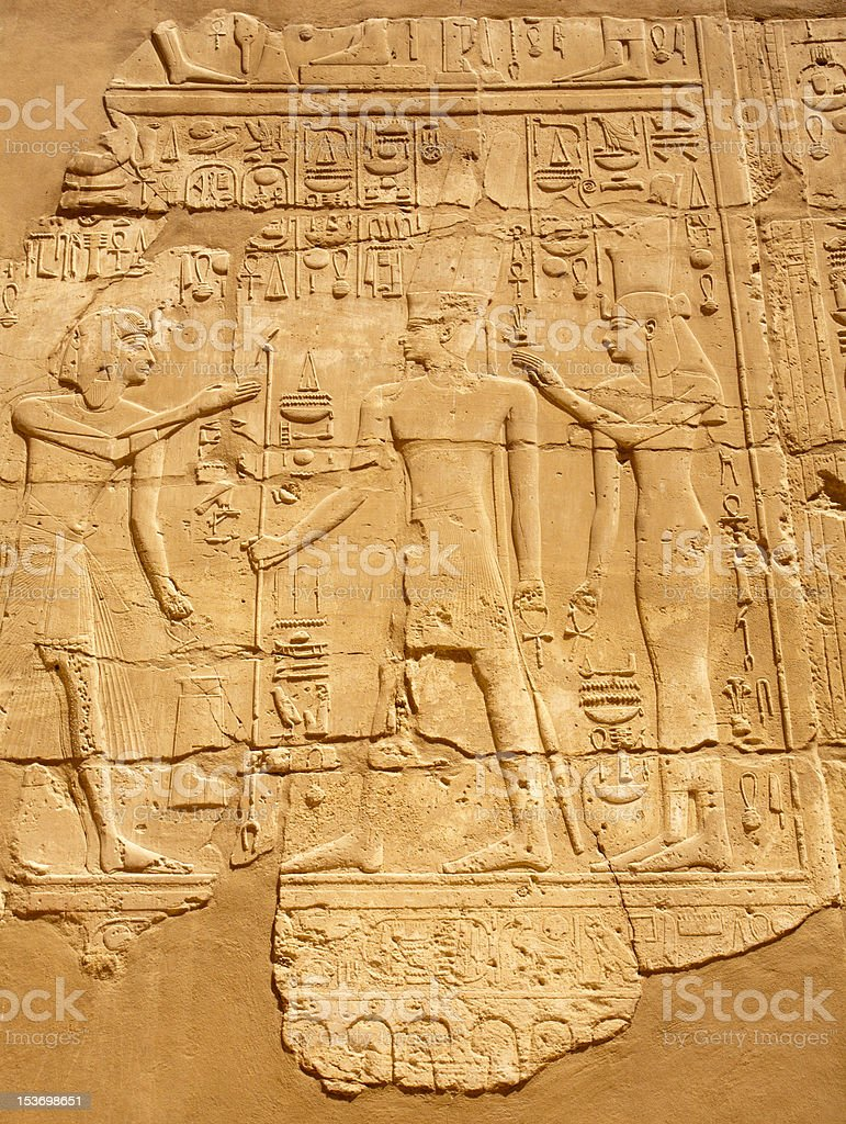 ancient Egyptian bas-relief royalty-free stock photo