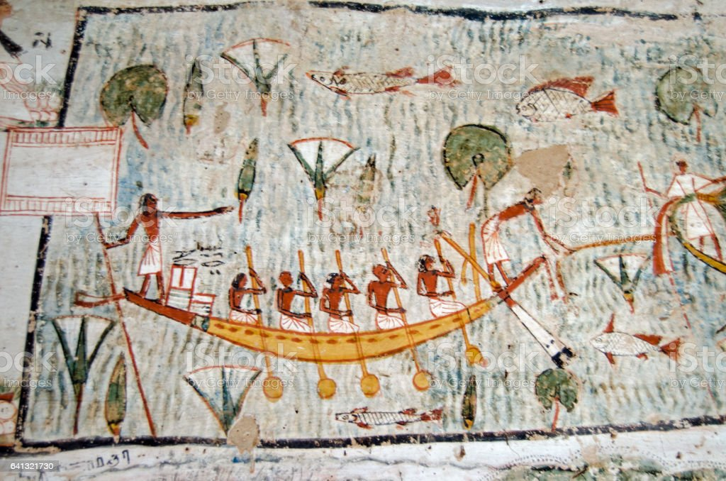 Ancient Egyptian boat mural stock photo