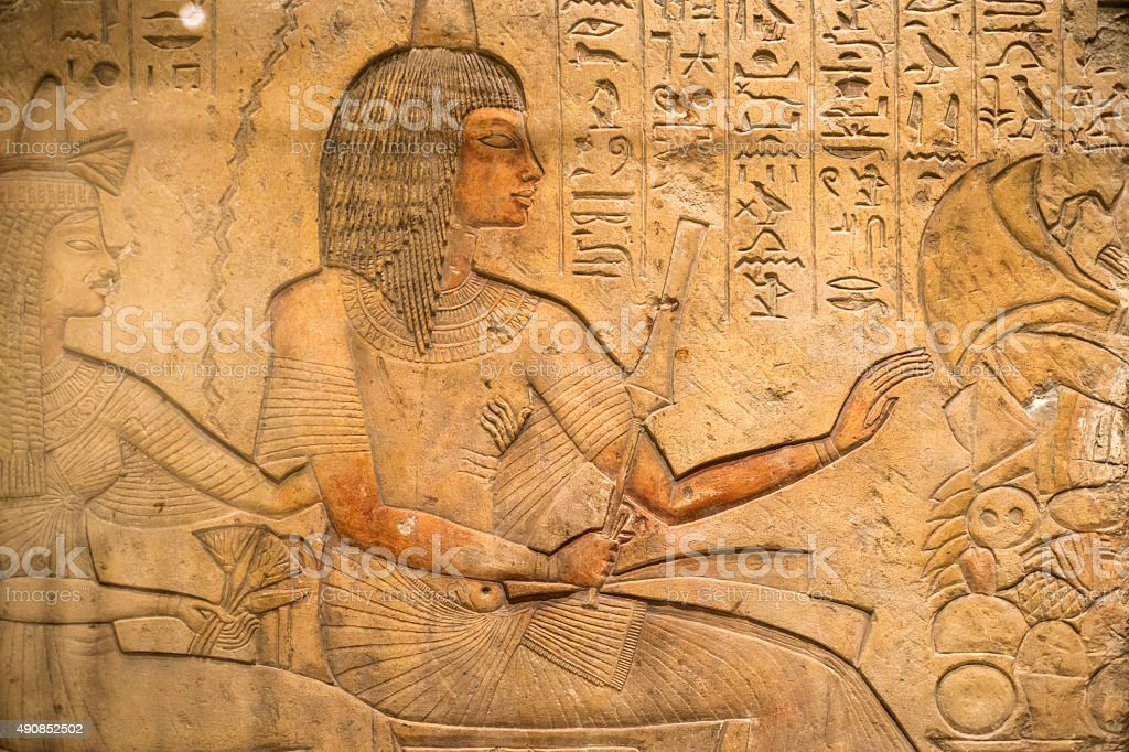 Ancient Egyptian Carving stock photo