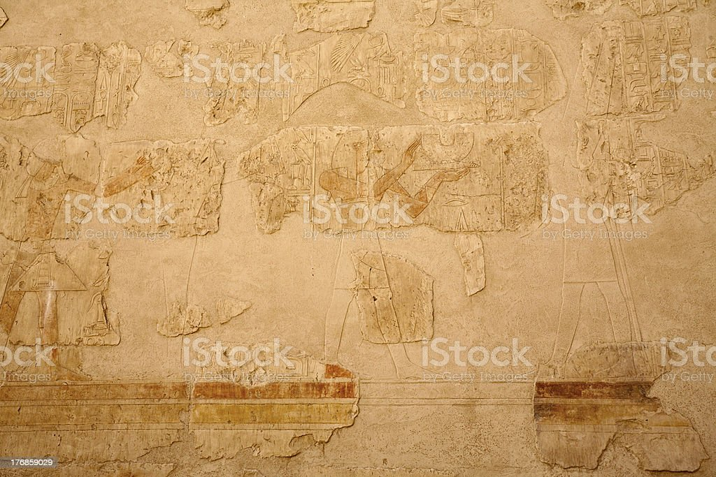 ancient Egyptian colored bas-reliefs stock photo