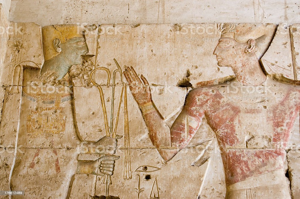 Ancient Egyptian God Ptah with Seti stock photo