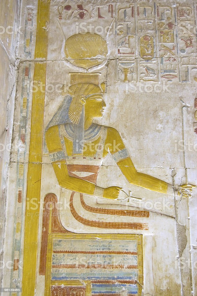 Ancient Egyptian Goddess Isis on her Throne stock photo