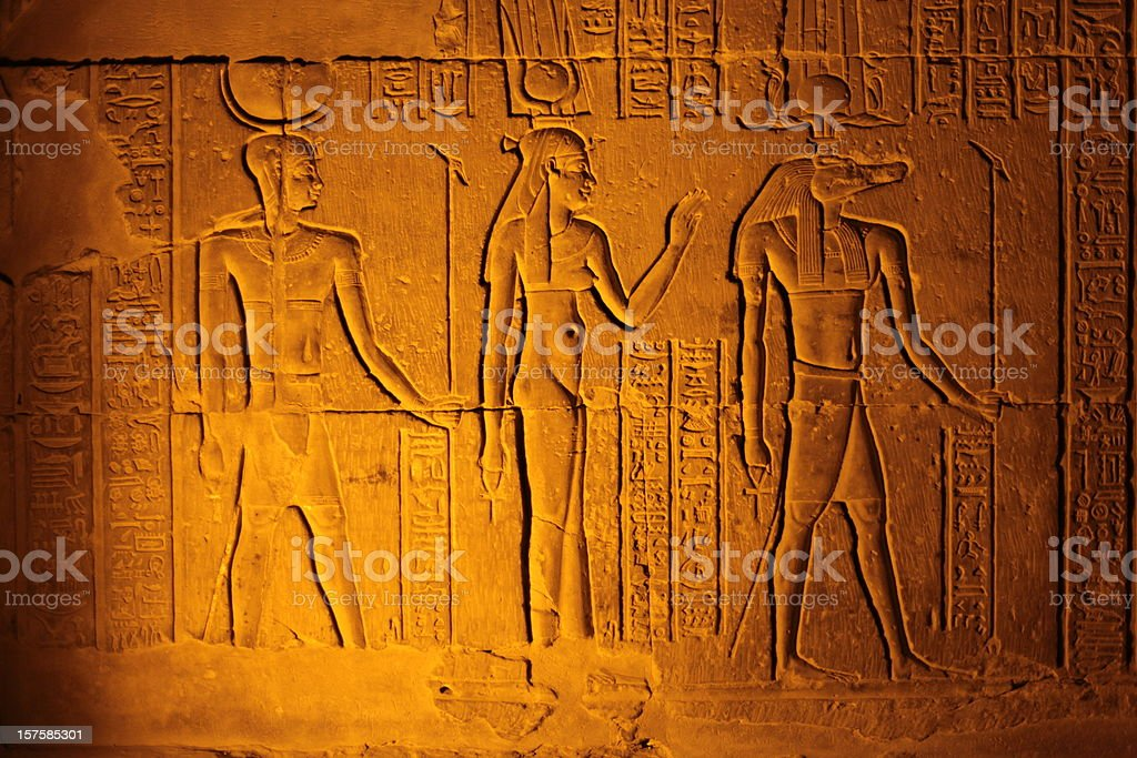 Ancient Egyptian hieroglyphics on a clay tablet royalty-free stock photo
