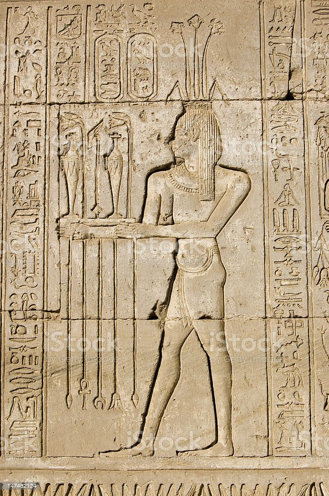 Ancient Egyptian priest for Hapi god stock photo