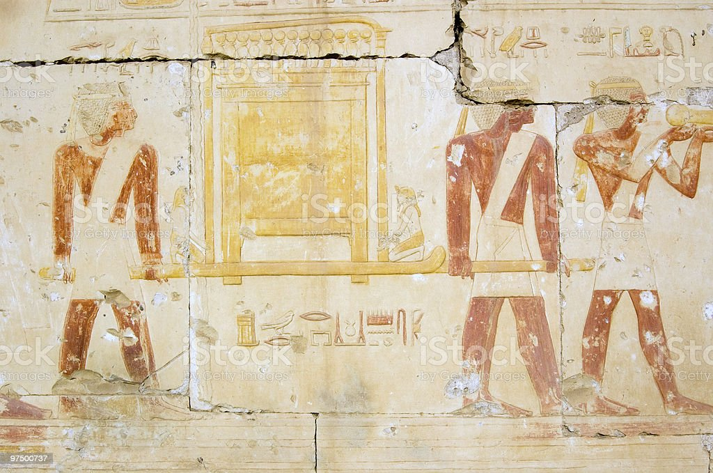 Ancient Egyptian Priests with golden ark stock photo