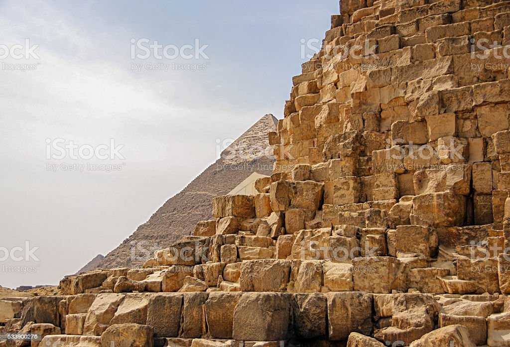Ancient Egyptian pyramid of Giza stock photo