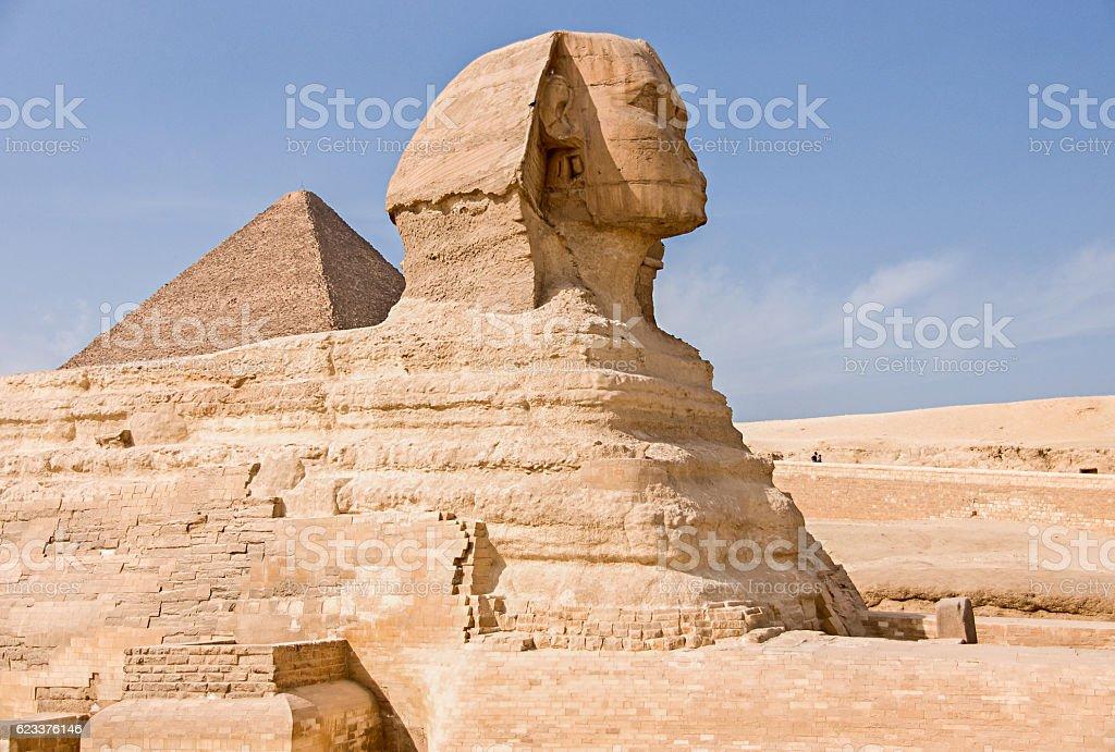 Ancient Egyptian Pyramid of Khafre Giza and Great Sphinx stock photo