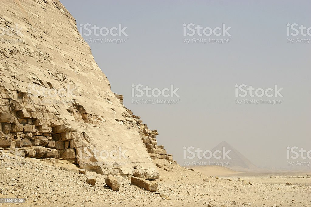 Ancient egyptian ruins and the Red Pyramid royalty-free stock photo