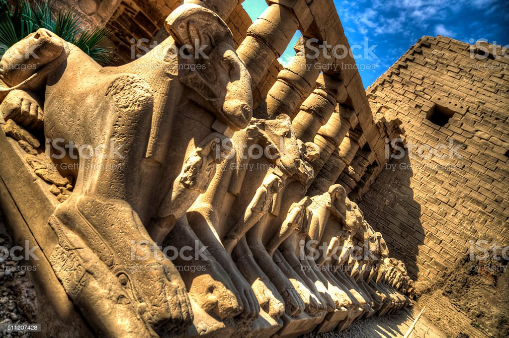 Ancient Egyptian sphinxes with head of Ram in Luxor, Egypt stock photo