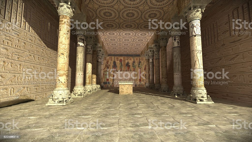 Ancient egyptian temple 3D render stock photo