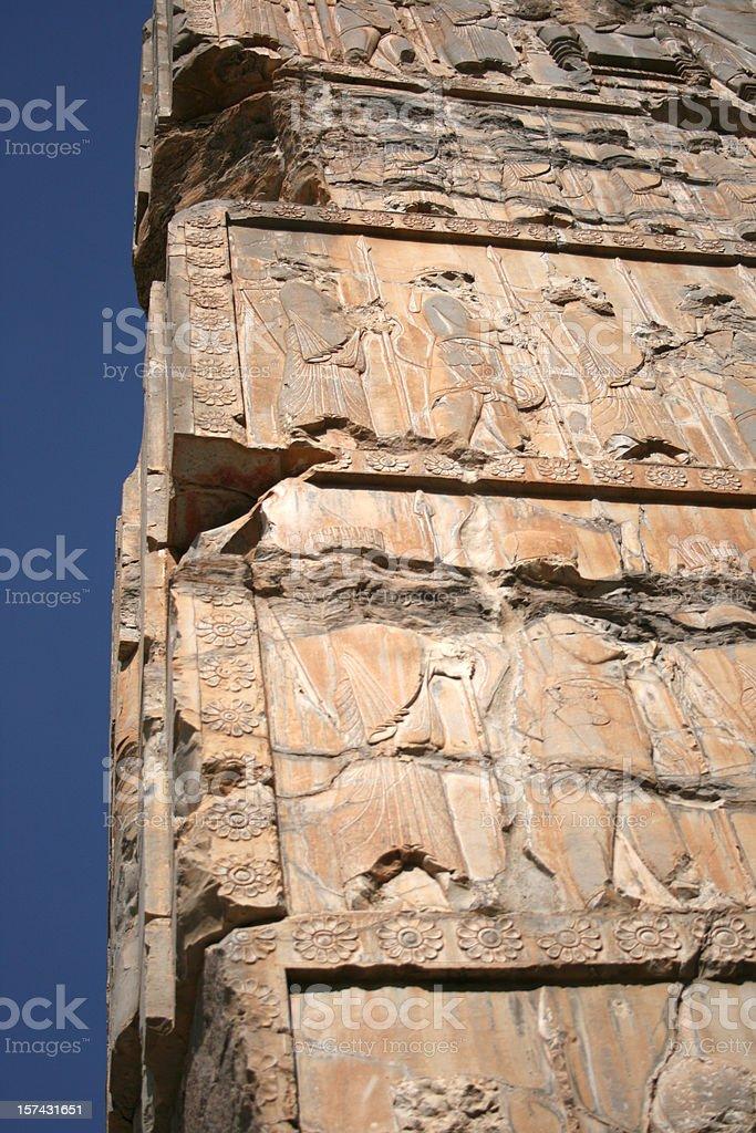 Ancient engravings in Persepolis Unesco site Iran stock photo