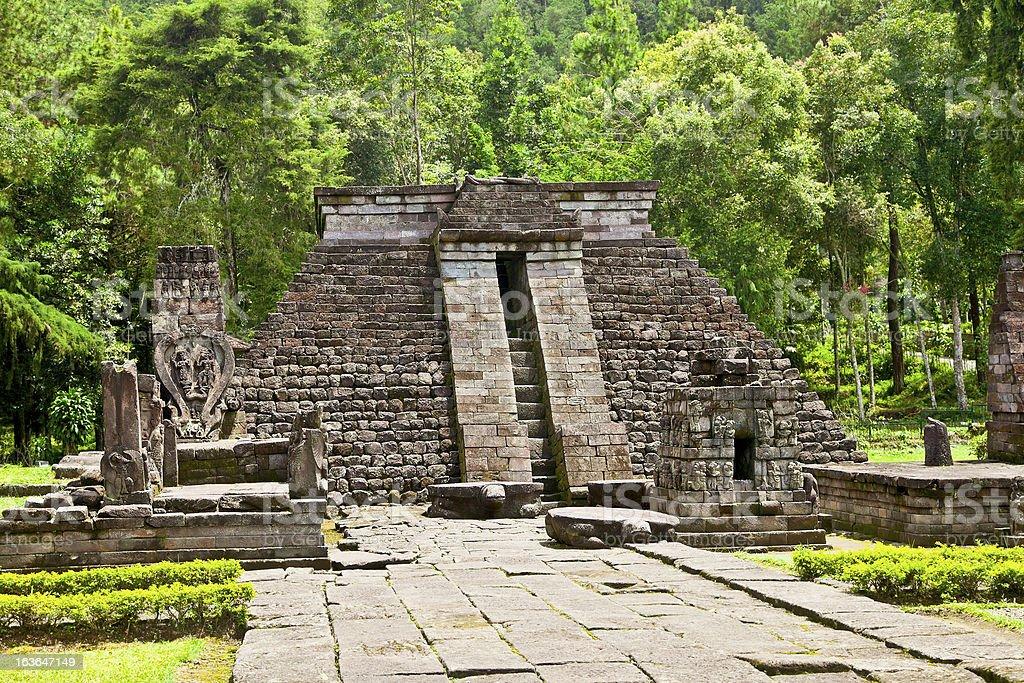 Ancient erotic Candi Sukuh-Hindu Temple on  Java, Indonesia royalty-free stock photo