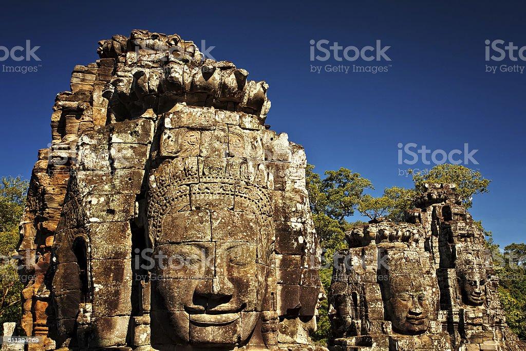 Ancient Faces of Bayon Temple, Angkor Thom, Angkor Wat, Cambodia, Asia stock photo