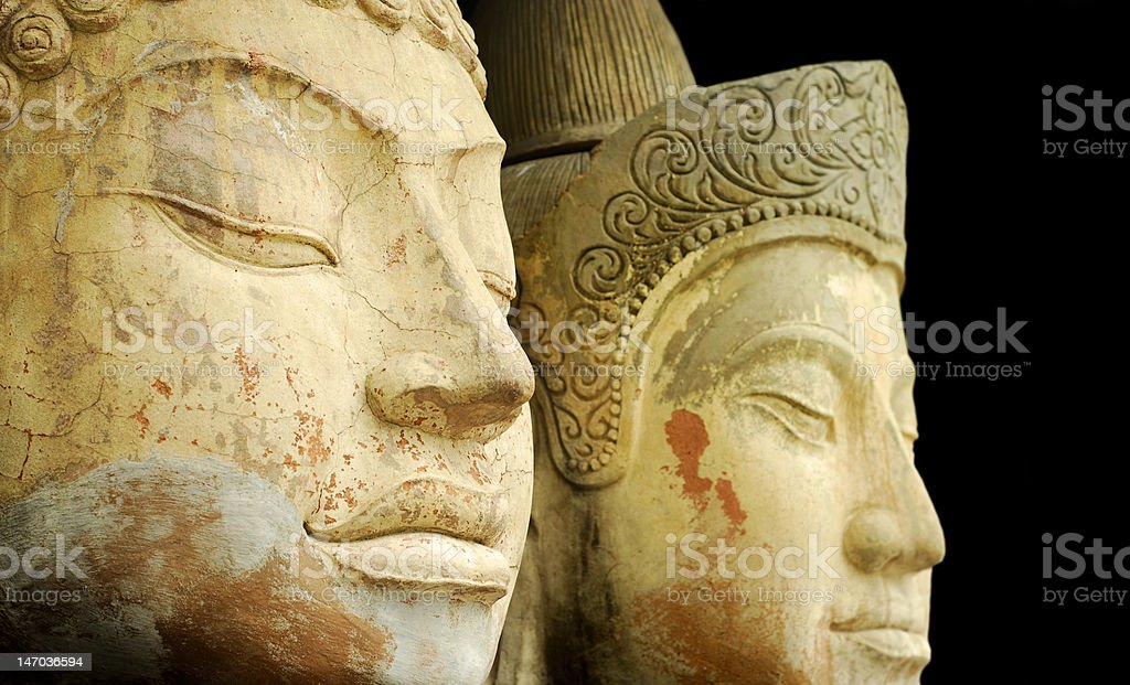 Ancient Faces royalty-free stock photo