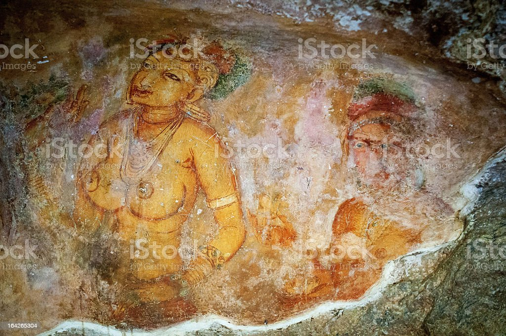 Ancient famous wall paintings (frescoes) at Sigirya Sri Lanka royalty-free stock photo