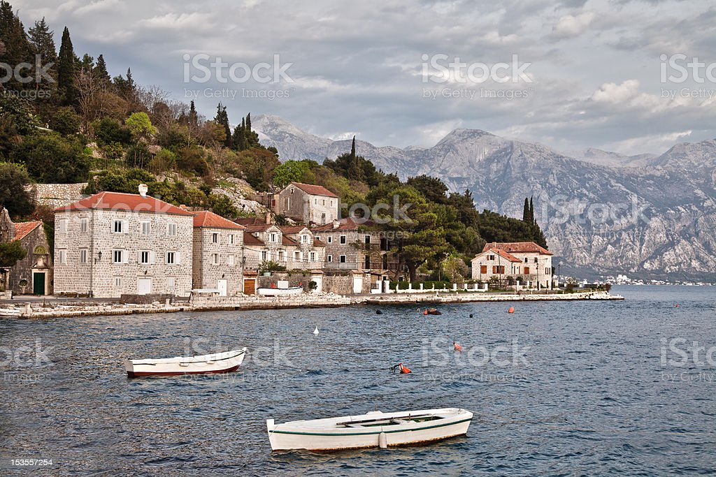 Ancient fishing village on the shores of Mediterranean Sea royalty-free stock photo