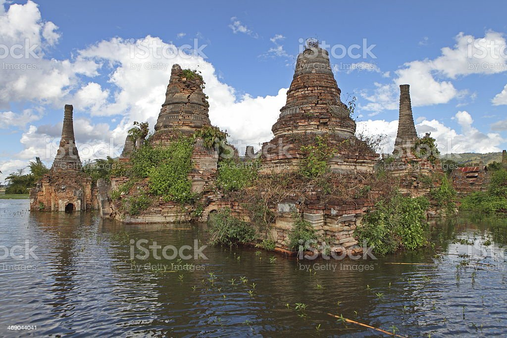 Ancient flooded pagodas near Samkar, Myanmar royalty-free stock photo