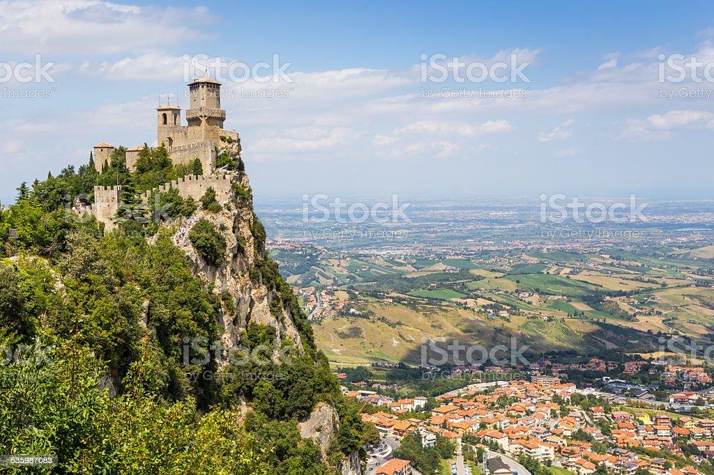 ancient fortress of Republic San Marino stock photo
