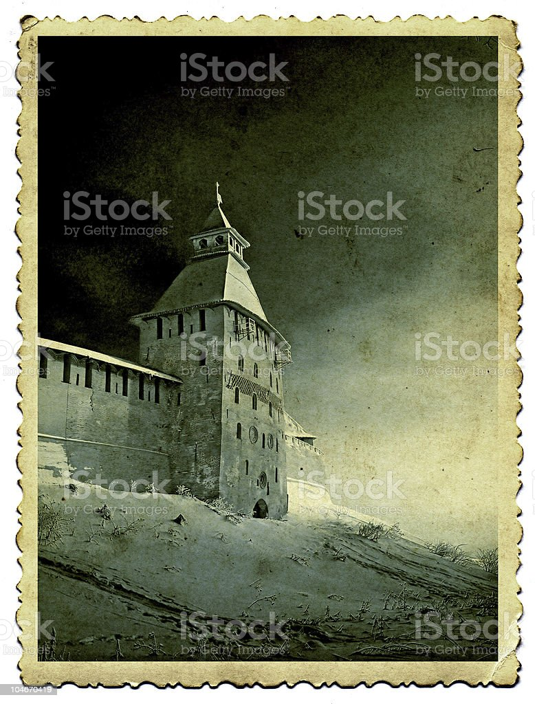 Ancient fortress on old photography, retro-style photo. royalty-free stock photo