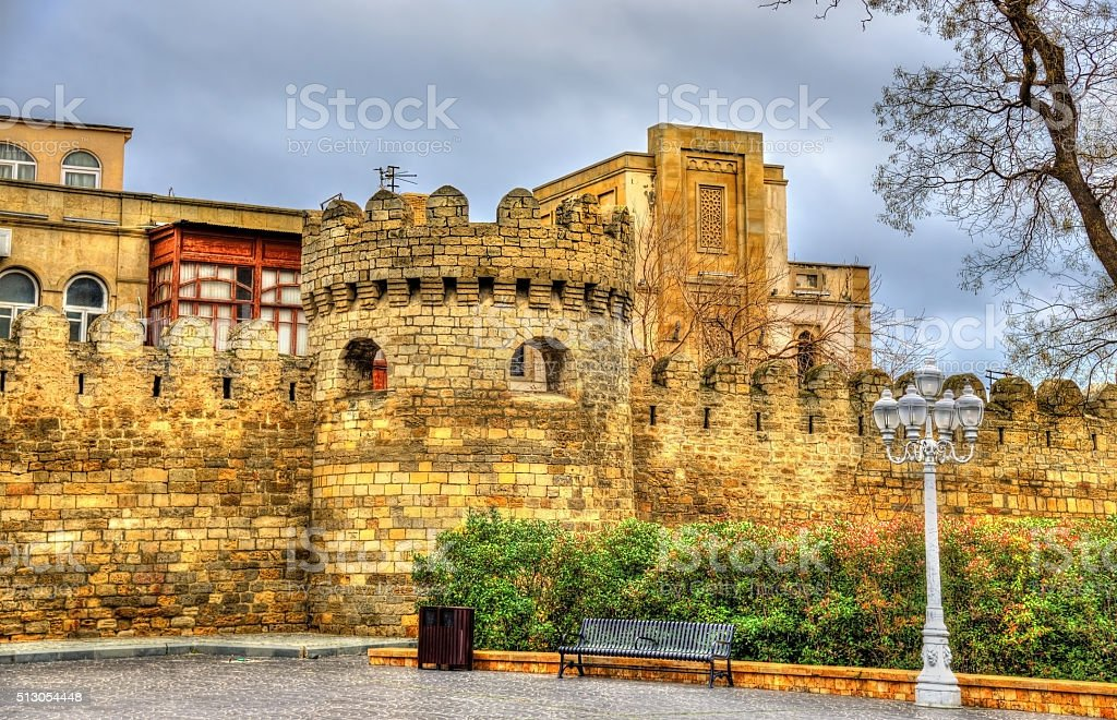 Ancient fortress wall in Baku old town stock photo