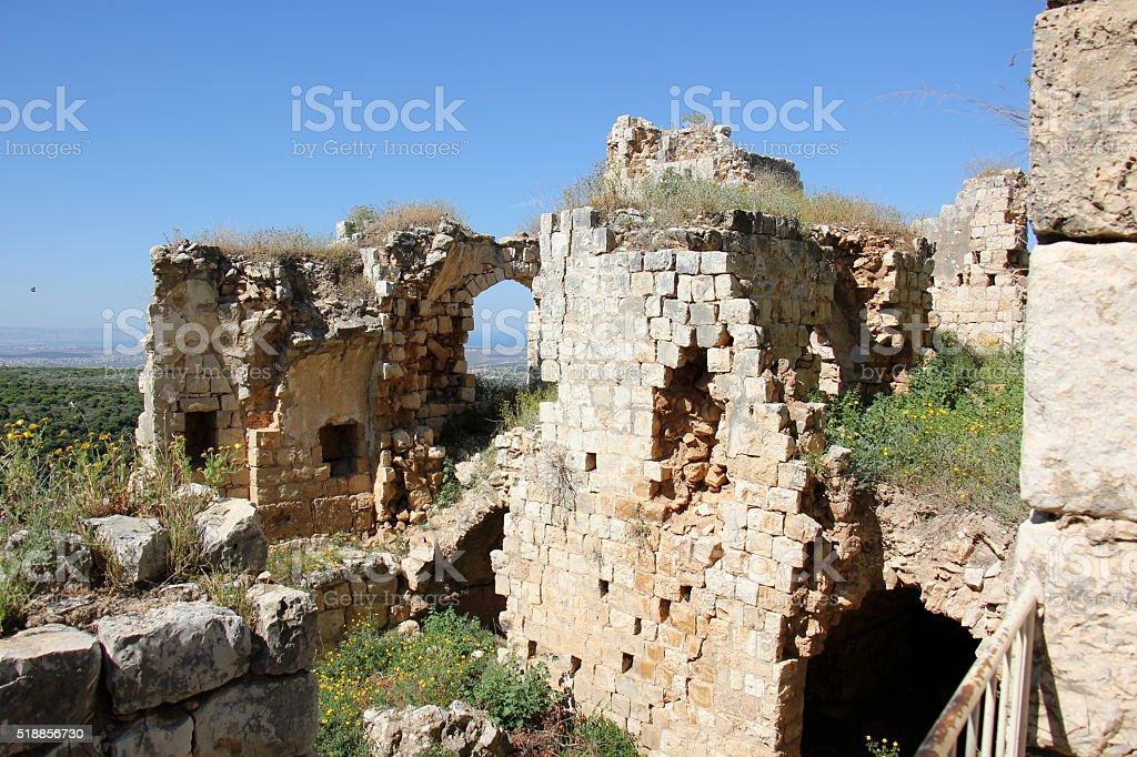 ancient fortress Yehiam stock photo